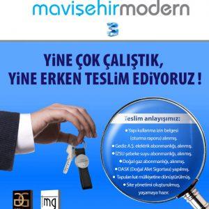 MAVİŞEHİR MODERN3 PROJESİNDE DE TESLİMLER ERKEN BAŞLIYOR